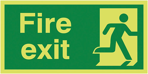 150x300mm Fire Exit Running Man Right - Nite Glo Self Adhesive