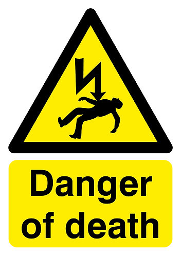 210x148mm Danger of Death - Self Adhesive