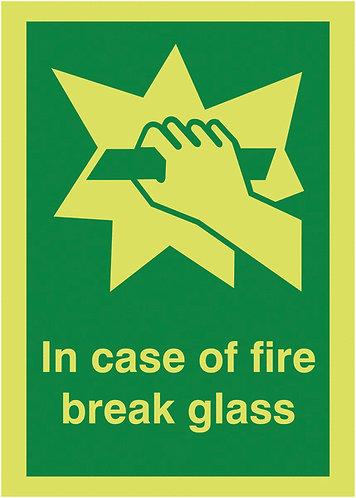 150x125mm In Case of Fire Break Glass - Nite Glo Self Adhesive