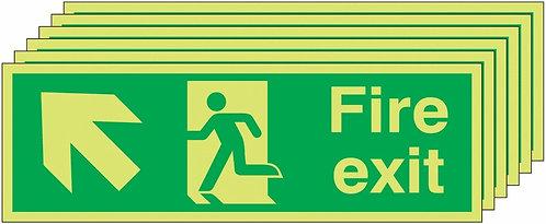 150x450 6 pack 150x450 Fire Exit Running Man Arrow Up Left - Nite Glo Rigid