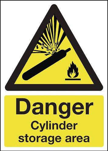210x148mm Danger Cylinder Storage Area - Rigid