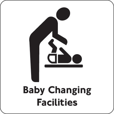 100x100mm Baby Changing Facilities - Black on white