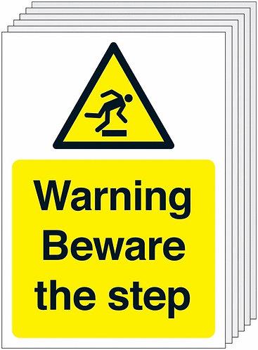 210x148mm Warning Beware of Step - Rigid Pk of 6
