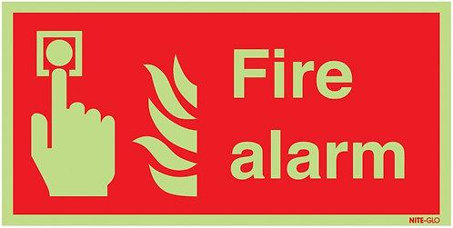 100x200mm Fire Alarm - Nite Glo Rigid
