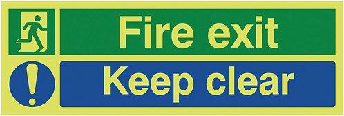 150x450mm Fire Exit Keep Clear - Nite Glo Rigid