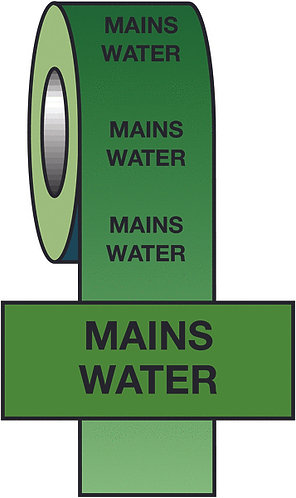 150mmx33m Mains Water BS Pipeline Marking & Identification Tape