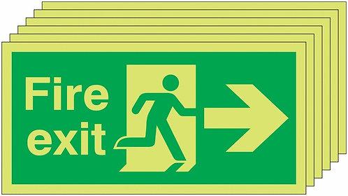 150x300 6 pack 150x300 Fire Exit Running Man Arrow Right - Nite Glo Rigid