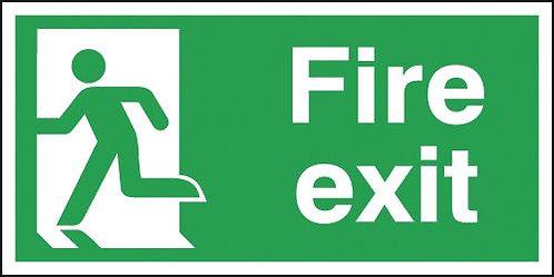 150x300mm Fire Exit Running Man Left - Aluminium