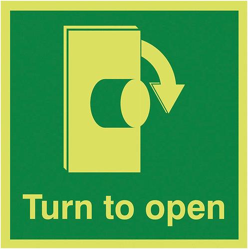 125x125mm Turn To Open Clockwise - Nite Glo Self Adhesive