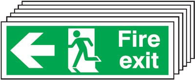 150x300mm Fire Exit Running Man Arrow Left - Self Adhesive Pk of 6