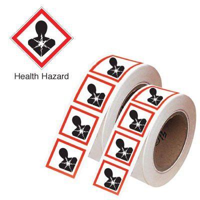 100x100mm Health Hazard GHS Symbols on a roll
