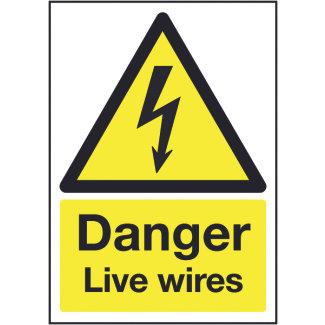 210x148mm Danger Live Wires - Rigid