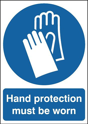210x148mm Hand Protection Must Be Worn - Self Adhesive