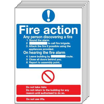 210x148mm Fire Action Notice (Standard) - Rigid Pk of 6