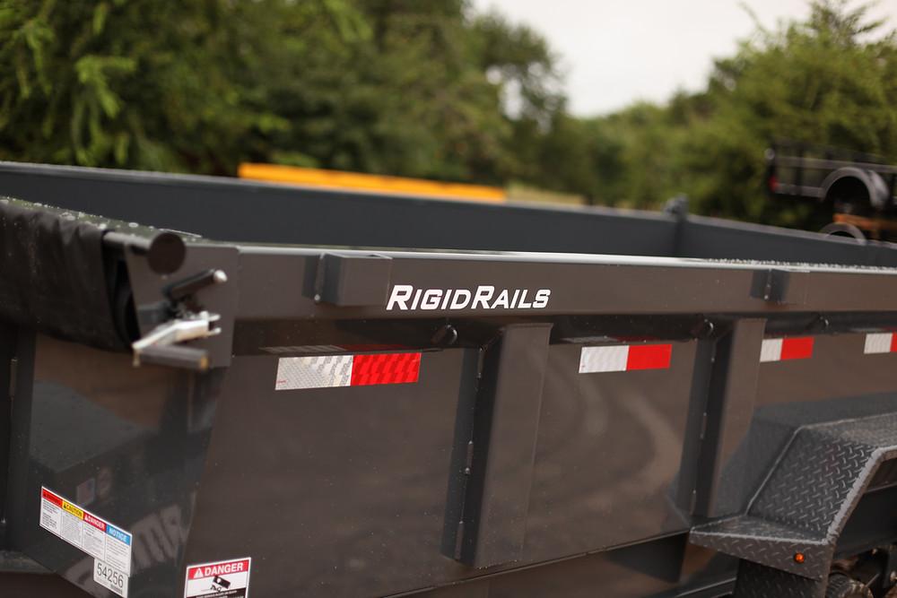 Lamar dump trailer rigid rails, formed and engineered