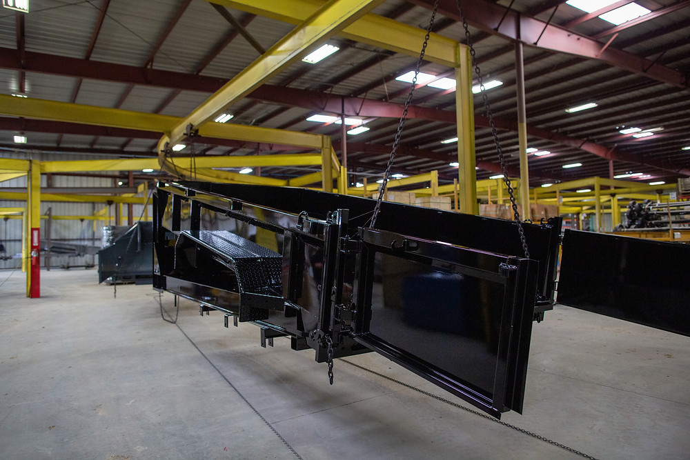 Cured powder coated trailer hot out of the oven