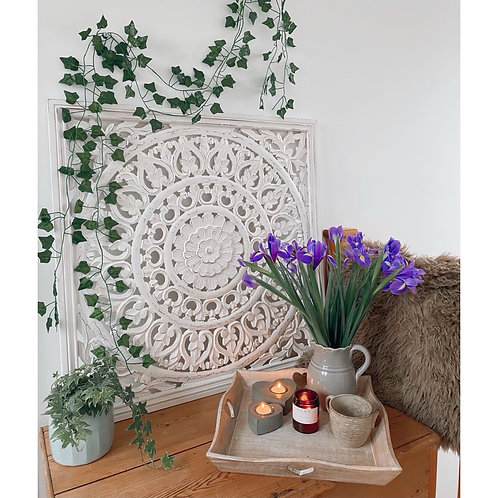 EXTRA LARGE WHITE CARVED PANEL
