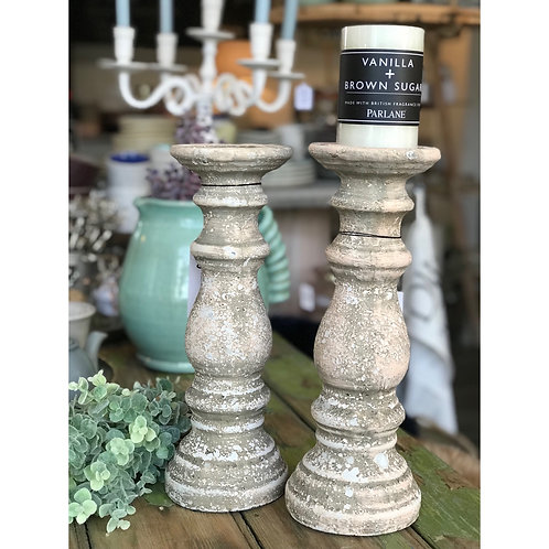 AGED STONE CANDLESTICK