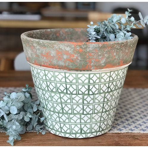 EXTRA LARGE GREEN TILE POT
