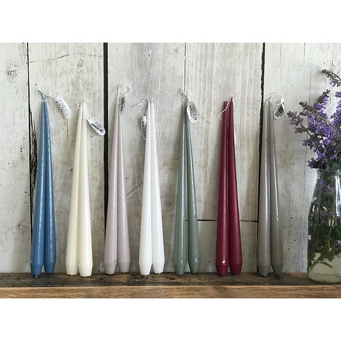 COLOURED TAPER CANDLE PAIR