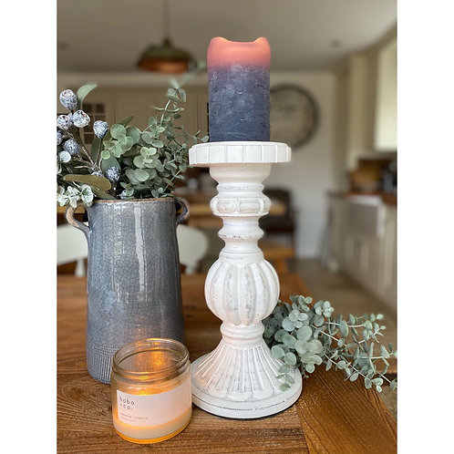 WHITE WOODEN CANDLESTICK (3 sizes)