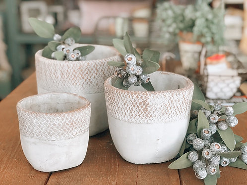 WHITE GREY POTS (3 SIZES)