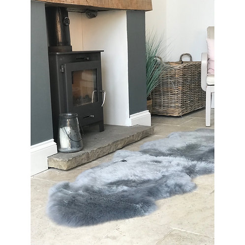 BLUE-GREY DOUBLE SHEEPSKIN RUG