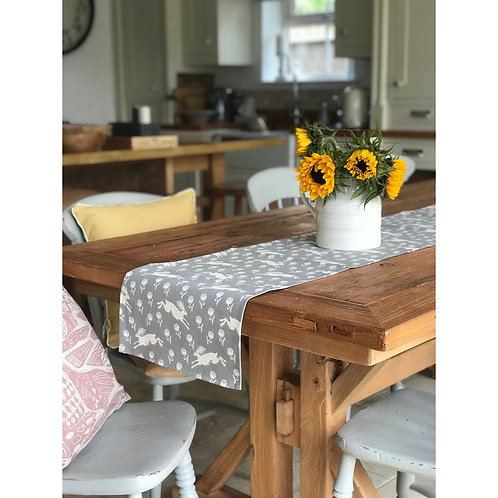 GREY RUNNING HARE TABLE RUNNER