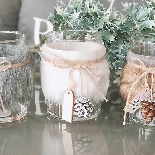 WHITE FLUFFY TEA LIGHT HOLDER