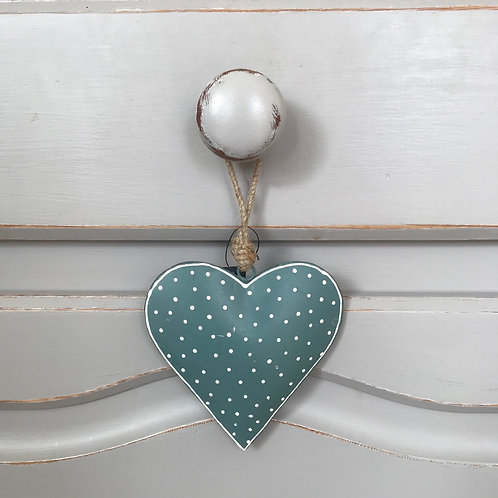 SPOTTY TEAL HANGING HEART
