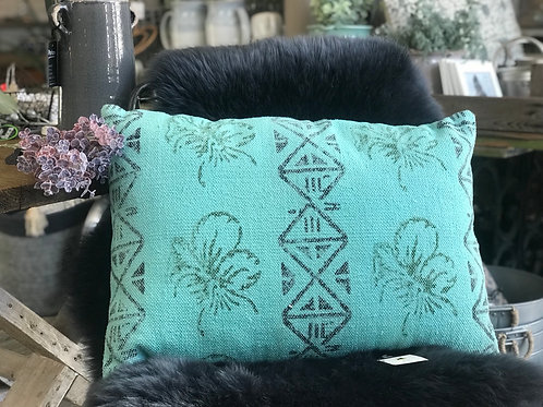 TEAL PRINTED CUSHION