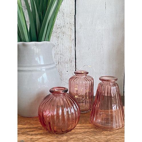 SET OF 3 PINK GLASS BUD VASES