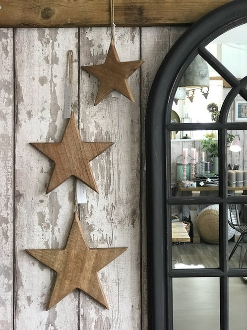 SET OF 3 WOODEN HANGING STARS