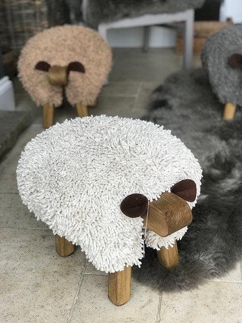 IVORY HANDMADE SHEEP FOOTSTOOL