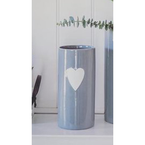 GREY VASE WITH WHITE HEART