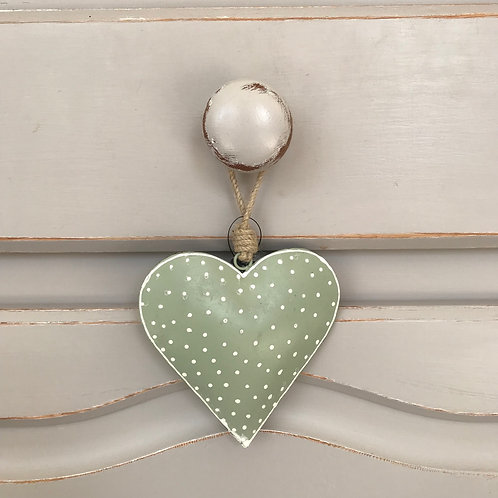 SPOTTY GREEN HANGING HEART