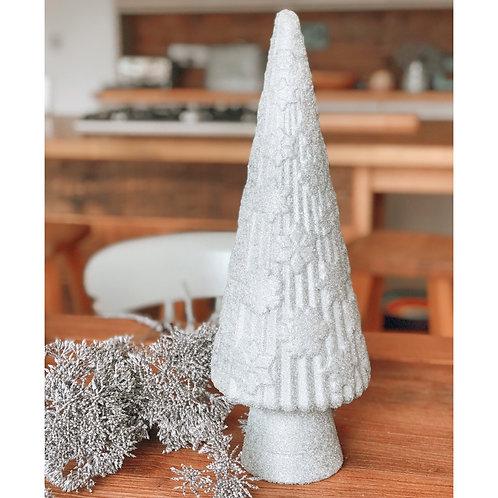 SPARKLY SILVER GLASS CHRISTMAS TREE
