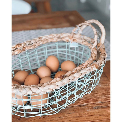 SET OF TWO GREEN WIRE EGG BASKETS