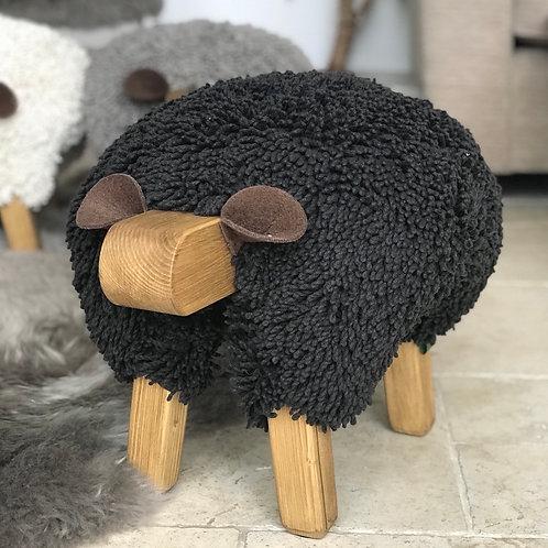 BLACK HANDMADE SHEEP FOOTSTOOL