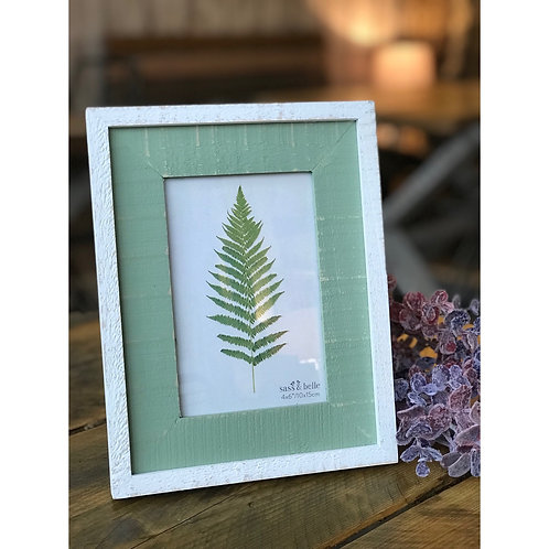 WOODEN WHITE AND GREEN FRAME