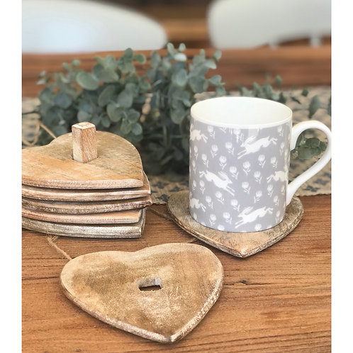 SET OF 6 WOODEN HEART COASTERS ON STAND