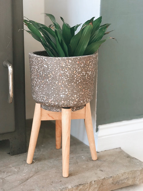 GREY CERAMIC PLANTER ON WOODEN LEGS