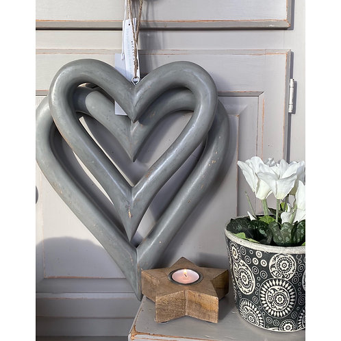 PAIR OF LARGE GREY HEARTS