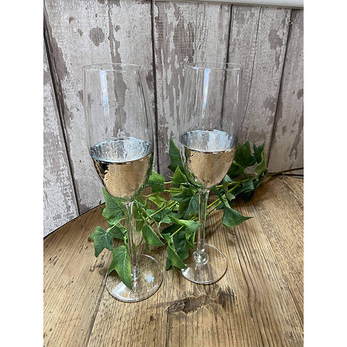 SET OF TWO SILVER CHAMPAGNE FLUTES