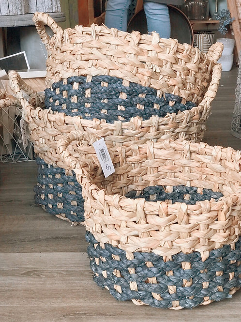 BLUE CHUNKY SEA GRASS BASKETS