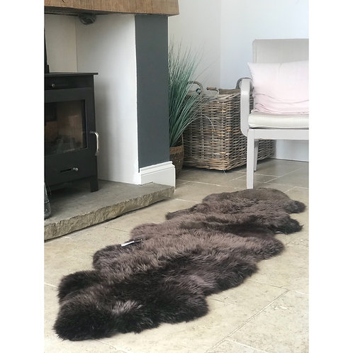 CHOCOLATE LIGHT TIP DOUBLE SHEEPSKIN RUG