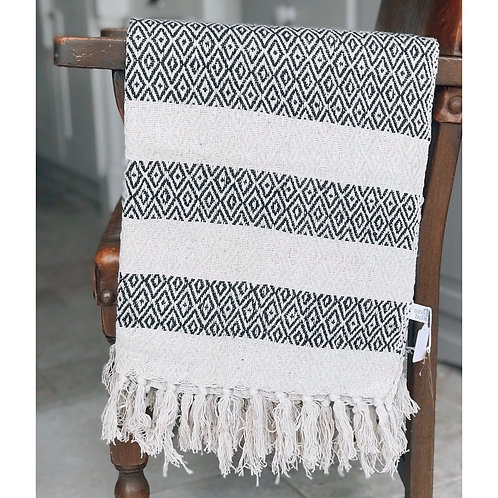 PATTERNED SCANDI BOHO BLANKET THROW