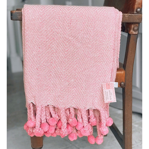 PINK POM POM THROW