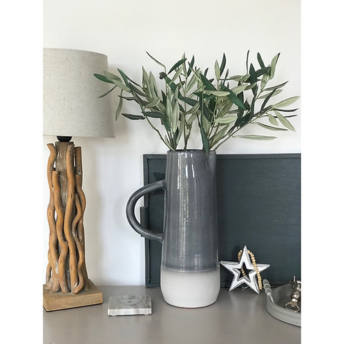 CERAMIC TWO TONE PITCHER IN GREY