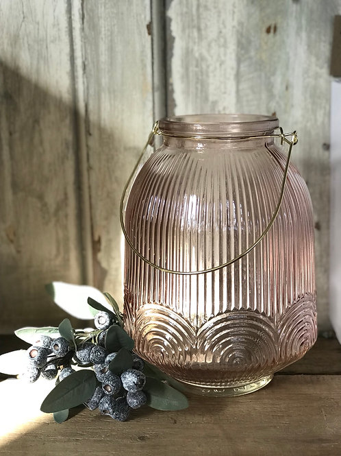 PINK AND GOLD GLASS LANTERN